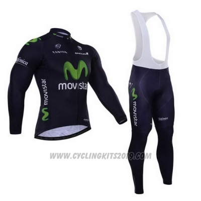 2015 Cycling Jersey Movistar Black Long Sleeve and Bib Tight