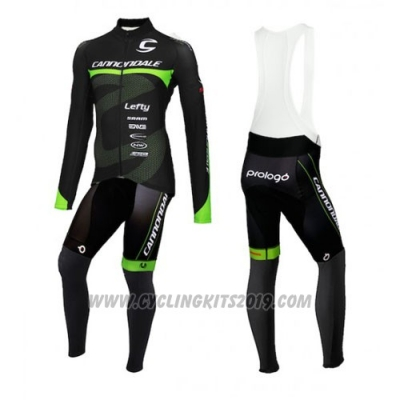 2016 Cycling Jersey Cannondale Ml Black and Green Long Sleeve and Bib Tight