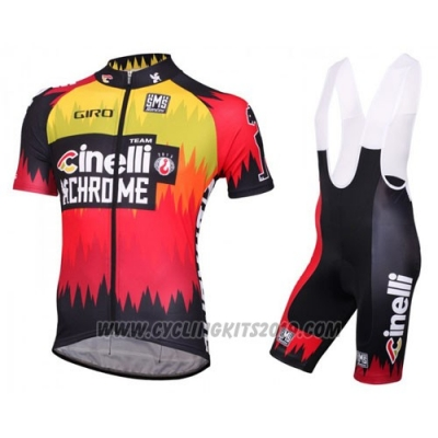 2016 Cycling Jersey Cinelli Chrome Red and Black Short Sleeve and Bib Short