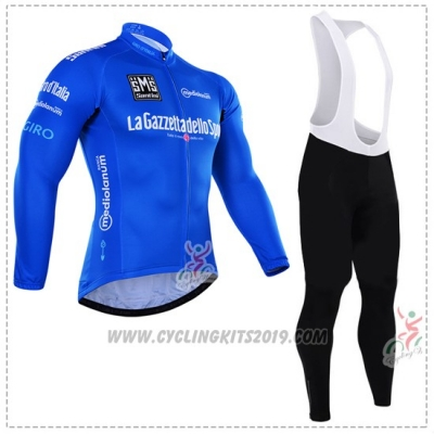 2016 Cycling Jersey Giro D'italy Blue and White Long Sleeve and Bib Tight
