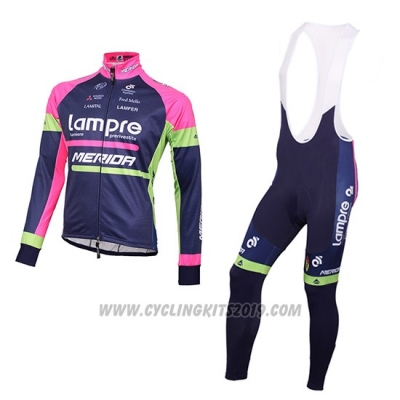 2016 Cycling Jersey Lampre Blue and Pink Long Sleeve and Bib Tight