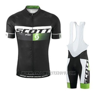 2016 Cycling Jersey Scott Black and Green Short Sleeve and Salopette