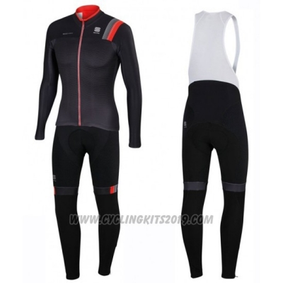 2016 Cycling Jersey Sportful Black Long Sleeve and Bib Tight