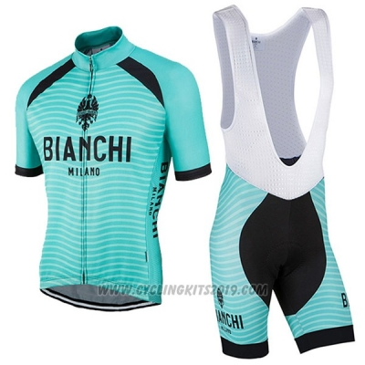 2017 Cycling Jersey Bianchi Milano Meja Green Short Sleeve and Bib Short