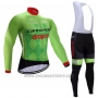 2017 Cycling Jersey Cannondale Drapac Green Long Sleeve and Bib Tight
