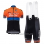 2017 Cycling Jersey De Pink Santini Black and Orange Short Sleeve and Bib Short