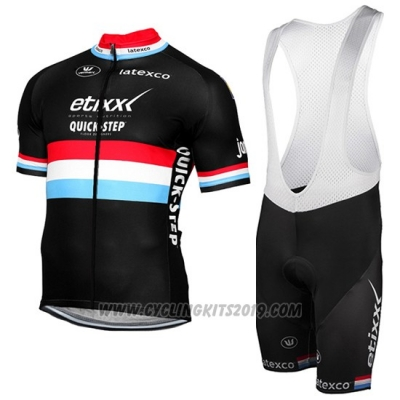 2017 Cycling Jersey Etixx Quick Step Campione Luxembourg Black Short Sleeve and Bib Short