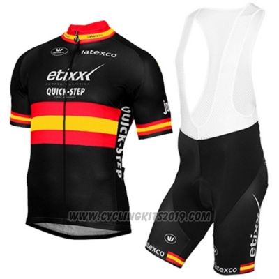 2017 Cycling Jersey Etixx Quick Step Campione Spain Yellow and Black Short Sleeve and Bib Short