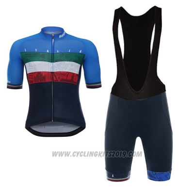 2017 Cycling Jersey Italy Black and Blue Short Sleeve and Bib Short