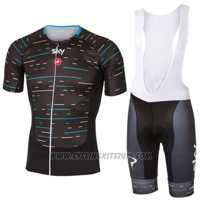 2017 Cycling Jersey Sky Black and Light Blue Short Sleeve and Bib Short