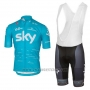 2017 Cycling Jersey Sky Sky Blue Short Sleeve and Bib Short