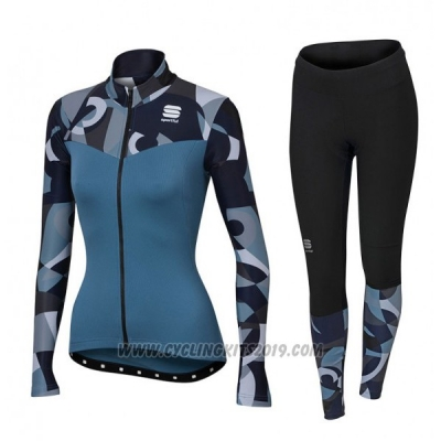 2017 Cycling Jersey Sportful Primavera Blue Long Sleeve and Bib Tight