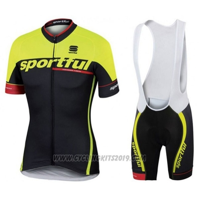 2017 Cycling Jersey Sportful Sc Black and Green Short Sleeve and Bib Short