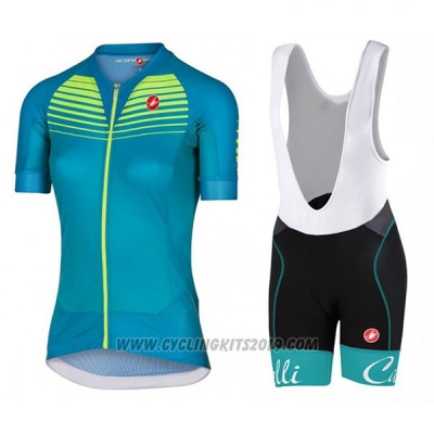 2017 Cycling Jersey Women Castelli Aero Race Green Short Sleeve and Bib Short