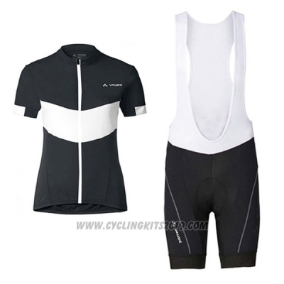 2017 Cycling Jersey Women Vaude Black and White Short Sleeve and Bib Short
