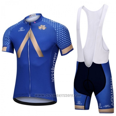 2018 Cycling Jersey Aqua Bluee Sport Blue Short Sleeve and Bib Short