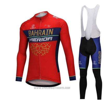 2018 Cycling Jersey Bahrain Merida Red Long Sleeve and Bib Tight