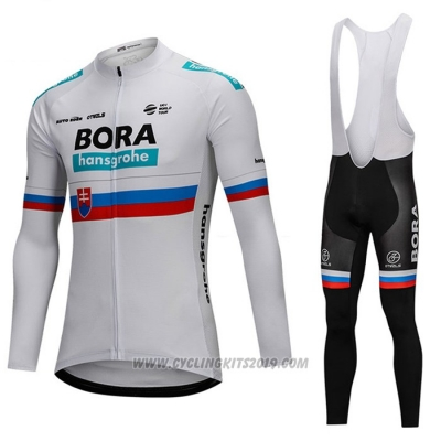 2018 Cycling Jersey Bora Campione Russia White Long Sleeve and Bib Tight