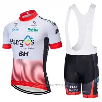 2018 Cycling Jersey Burgos BH White and Red Short Sleeve and Bib Short