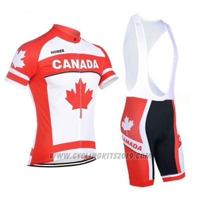2018 Cycling Jersey Canada Orange and White Short Sleeve and Bib Short