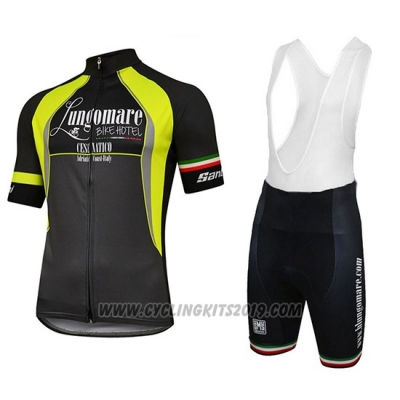 2018 Cycling Jersey Lungomare Black and Yellow Short Sleeve and Salopette