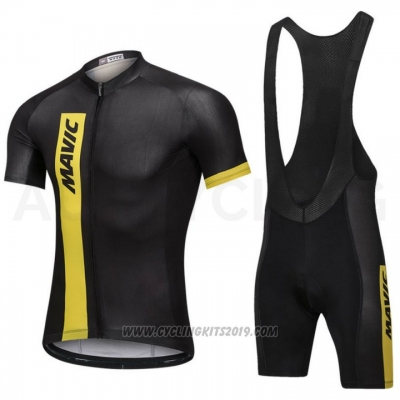 2018 Cycling Jersey Mavic Black Short Sleeve and Bib Short