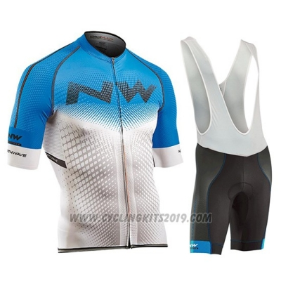 2018 Cycling Jersey Northwave Blue and White Short Sleeve and Bib Short