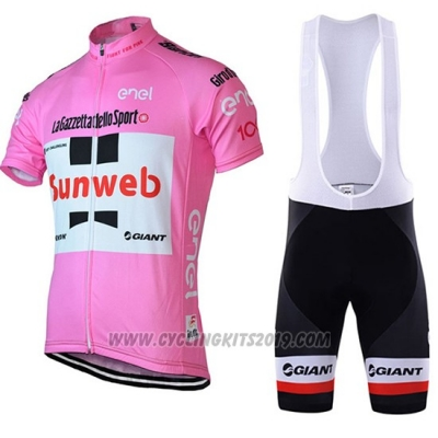 2018 Cycling Jersey Sunweb Pink and White Short Sleeve and Bib Short