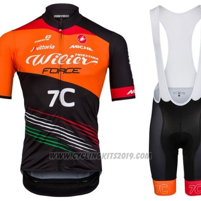 2018 Cycling Jersey Wieiev Force 7c Orange Black Short Sleeve and Bib Short