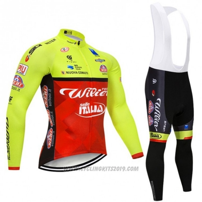 2018 Cycling Jersey Wieiev Green and Red Long Sleeve and Bib Tight