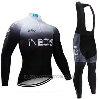 2019 Cycling Jersey Castelli Ineos White Black Long Sleeve and Bib Tight