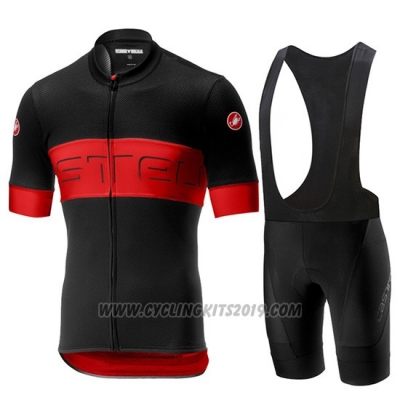 2019 Cycling Jersey Castelli Prologo 6 Black Red Short Sleeve and Bib Short