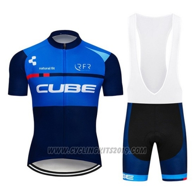 2019 Cycling Jersey Cube Blue Blue Deep Short Sleeve and Bib Short