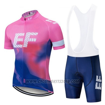 2019 Cycling Jersey Ef Education First Pink Blue Short Sleeve and Bib Short