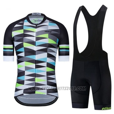 2019 Cycling Jersey Etixxl Black Gray Green Short Sleeve and Bib Short