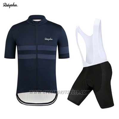 2019 Cycling Jersey Rapha Dark Blue Short Sleeve and Bib Short