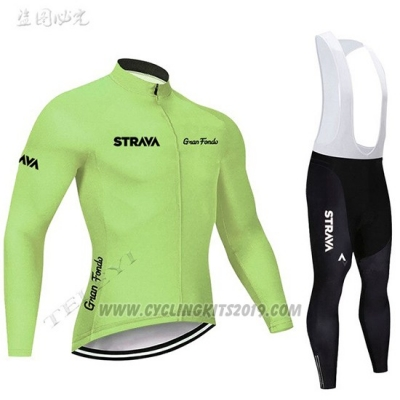 2019 Cycling Jersey STRAVA Light Green Long Sleeve and Bib Tight
