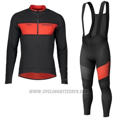 2019 Cycling Jersey Scott Rc Ff Black Red Long Sleeve and Bib Tight