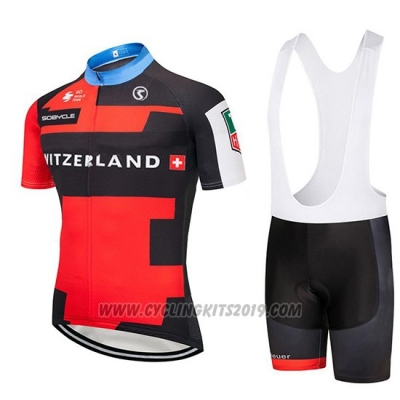 2019 Cycling Jersey Switzerland Red Black Short Sleeve and Bib Short