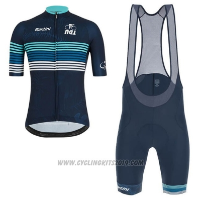2019 Cycling Jersey Tour Down Under Blue Short Sleeve and Bib Short