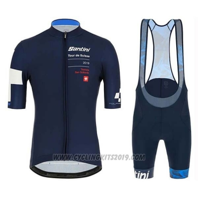 2019 Cycling Jersey Tour de Suisse Dark Blue White Short Sleeve and Bib Short