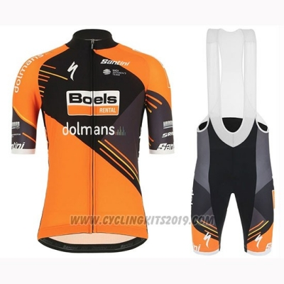 2019 Cycling Jersey Women Boels Dolmans Orange Short Sleeve and Bib Short