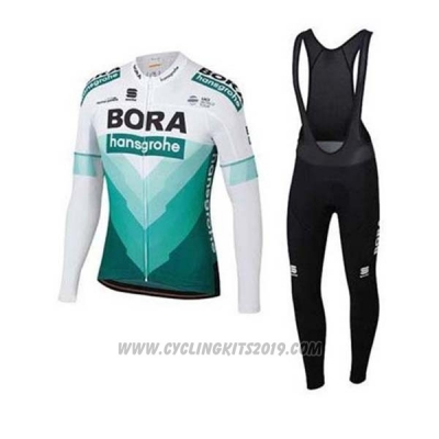 2020 Cycling Jersey Bora-hansgrone Green White Long Sleeve and Bib Tight