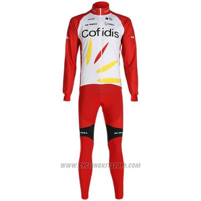 2020 Cycling Jersey Cofidis White Red Long Sleeve and Bib Tight