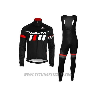 2020 Cycling Jersey Nalini Black White Red Long Sleeve and Bib Tight