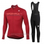 2020 Cycling Jersey Women Sportful Red Long Sleeve and Bib Tight