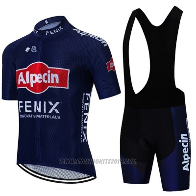 2021 Cycling Jersey Alpecin Fenix Deep Blue Short Sleeve and Bib Short