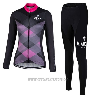 Cycling Jersey Women Bianchi Milano Cornedo Black Pink Long Sleeve and Bib Tight