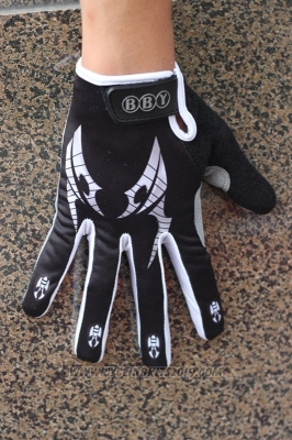 Skull Full Finger Gloves Cycling Black Black