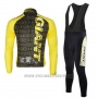 2010 Cycling Jersey Giant Black and Yellow Long Sleeve and Bib Tight